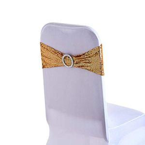 WedDecor 108 X 7 Pouces Spandex Sequin Chaise Bandes Doré avec Rond Boucle Slider Écharpes Nœud pour Mariage Fête Housses Chaise Décoration Fêtes Fournitures Simple – Or, 100