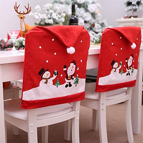 6PCS Housse De Chaise Noël – Santa Claus Bonhomme De Neige Chapeau Rouge Chaise Retour Couverture Pour La Décoration De Noel 60 X 49cm