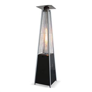 Alice's Garden Chauffage d'extérieur – Arctic 13kW Gris foncé – Parasol Chauffant gaz Pyramide, Design, véritable Flamme, roulettes incluses