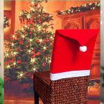Couverture de Chaise Père Noël Lot de 10 Housse de Chaise Chapeau de Père Noël Bonnet de Père Noël Christmas Chair Cover Bonnet de Père Noël Décoration de Chaise Coins,50 x 60 cm / 19.7 x 23.6inch