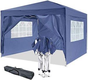 Hiriyt Tonnelle Pliante imperméable 3x3m/3x6m Tonnelle de Jardin Gazebo Pliable Pavillon de Jardin Tente de Reception pour Jardin fête, Protection UV (Bleu)