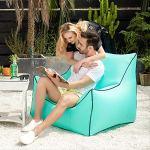 STARKWALL Canapé Gonflable Mobilier D'extérieur Pliable Portable Paresseux Canapé Sandbeach Sac De Couchage Pont Chaise Patio Meubles Pouf Bleu