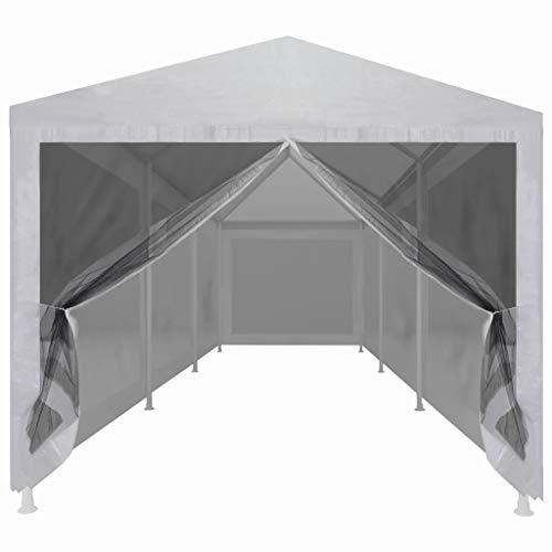 Tonnelle de jardin pliante 9 x 3 m Tente de fête de mariage portable abri abri abri abri abri de voiture cadre en acier étanche avec 8 parois latérales en maille 9 x 3 x 2,55 m