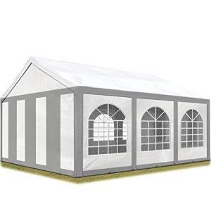 TOOLPORT Tente de réception 3×6 m Toile de Haute qualité 240g/m² PE Gris-Blanc Construction en Acier galvanisé avec raccordement par vissage