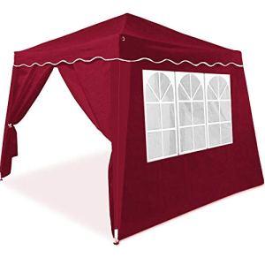 ADHW Tonnelle de Jardin Capri 3×3 m Rouge Pliable Pavillon avec 4 parois latérales