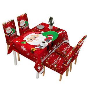 BULABULA Housse de table et de chaise de Noël – Motif Santa Claus Bells – Décoration de table