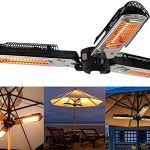 HOLITU Chauffage Extérieur Parasol Chauffant avec 3 Panneaux Chauffants Chauffage De Cour Chauffant électrique Infrarouge Pliant pour Pergola Ou Parasol Gazabo