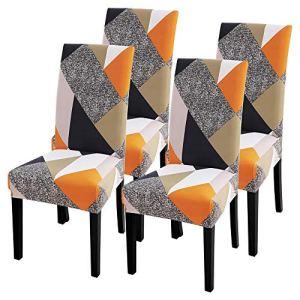 IVYSHION Housse de Chaise Extensible Imprimé Couverture de Chaise pour Salle à Manger Amovible Lavable Revêtement de Chaisepour Bouquet Maison Hotel Mariage Réunion(Jaune, 4 Pieces)