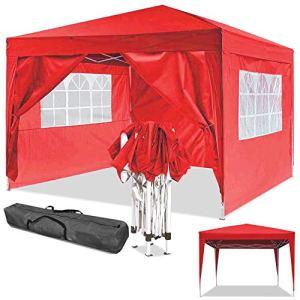 Jackbobo 3x3m/3x6m Gazebo Tente pavillon de Jardin étanche Tente de fête Tente de Jardin Pliable Festival (3x3m_Rouge)
