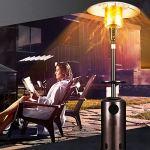 L&T GPL Chauffage Extérieur Floorstanding,Extérieur Parasol Chauffant De Terrasse Propane Chauffant avec étagère LED,Premium Chauffe-gaz (45000BTU)-Marteau Bronze