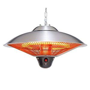 L&T Suspendus électrique Parasol Chauffant De Terrasse avec Télécommande,Imperméable Radiateur Infrarouge,Chauffage Extérieur Réglable 900w 1200W 2100W-Argent