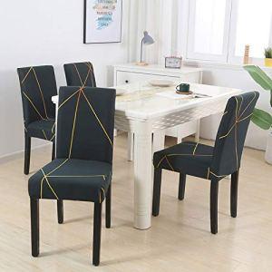 BJHSYNDR Housses de chaises de Salle à Manger Housse de Chaise Extensible imprimée pour Salle à Manger Bureau Banquet Chaise Protecteur matériau élastique Housse de Fauteuil 4/6 pièces