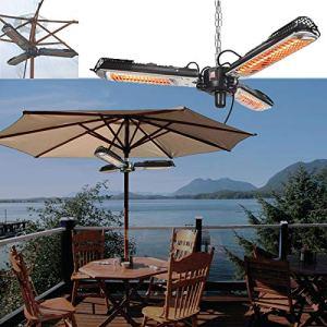 Chauffage de terrasse électrique d'extérieur – Parasol chauffant infrarouge P34 – 3 réglages de puissance (650/1300/2000 W) – Avec chaîne – Pour jardins et utilisation commerciale