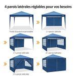Cobizi Tonnelle de Jardin 3x3m Gazebo Pliante imperméable Tente with 4 Parois, Revêtement Protecteur argenté, réglable en Hauteur, Tente Réception Pavillon Tonnelle Tente avec Sac de Transport