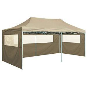FAMIROSA Tente de Réception Pliable avec 4 Parois 3×6 m Acier Crème8866