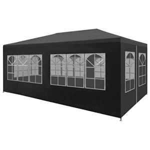 Festnight Tente de Reception Tente de Jardin chapiteau Jardin Résistance aux UV et à l'eau tonnelle 3 x 6 m Anthracite