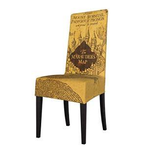 Housse de chaise de salle à manger rétro avec motif carte du maraudeur, housse de protection amovible lavable en élasthanne doux pour la maison, la cuisine, le restaurant, les fêtes