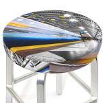 Housses de tabouret de bar rondes de 30,5 à 35,6 cm avec lumière néon de métro, housse de chaise lavable en mousse à mémoire de forme rembourrée avec dos antidérapant et bande élastique