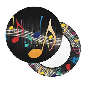 Housses de tabouret de bar rondes de 30,5 à 35,6 cm avec notes de musique, housse de chaise lavable en mousse à mémoire de forme rembourrée avec dos antidérapant et bande élastique