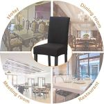 O'woda 4 Pièces Housse de Chaise, Imprimé Matériau Spandex élastique,Amovible Lavable,Couverture Extensible Chaise pour Décoratio Maison Hôtel Restaurant (Noir, 4 Pièces)