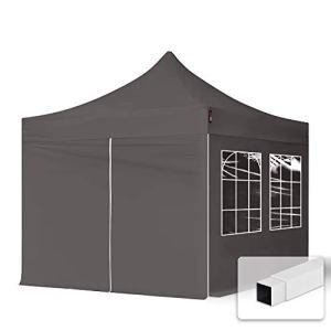 TOOLPORT Tente Pliante 3×3 m – 4 Bâches de Côté (fenêtres en Ogive) Economy PES300 Housse Barnum Chapiteau Pliant Tonnelle Gris