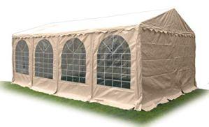 Ambisphere Classic Plus Tonnelle de Jardin en PVC 550 g/m² imperméable et résistant aux UV et Ignifuge Diverse Tailles en Blanc et Beige 4x8m Beige