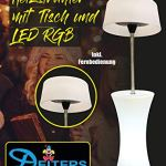 Deiters Chauffage sur pied avec table, 3 niveaux de chauffage, blanc, jusqu'à 2100 W, parasol chauffant avec LED + télécommande, pour l'extérieur