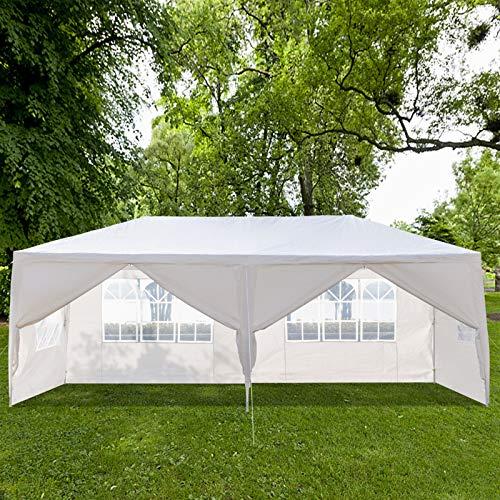 Fookduoduo Tonnelle d'extérieur 3 x 3 m/3 x 6 m/3 x 9 m, étanche et très résistante, pour mariages, événements avec parois latérales amovibles, tube en acier épais (3 x 6 m + 6 côtés)