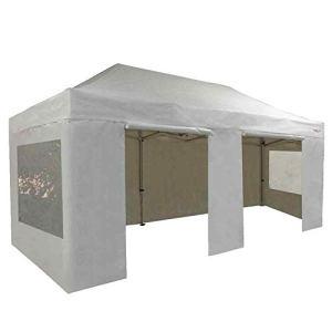 FRANCE-BARNUMS Tente Pliante Barnum Pliant Tonnelle Professionnelle 3x6m 18m² En Aluminium 45mm Toit Polyester 320g/m² et Pack Fenêtres Polyester 300g/m² (4 murs :1 avec porte, 2 avec fenêtre) (Blanc)