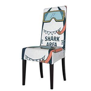 Housse de chaise de salle à manger avec impression 3D – 1 pièce – Motif requin amusant – Extensible – Sans accoudoirs – Protection pour chaise de cuisine – Pour banquet, fête, hôtel