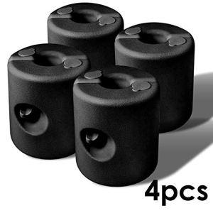 Lot de 4 Pieds pour tonnelle 20-40mm, PEHD Poids pour pavillon la Fixation stabilisation de gazebos Chapiteaux pour tentes de Jardin, remplissable à l'eau et au Sable, Noir