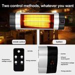 Radiateur Électrique, 500W/1000W/1500W Chauffage Exterieur Terrasse avec Télécommande, Minuterie, Affichage LCD Chauffage Infrarouge Parasol Chauffant Electrique