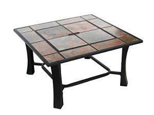 Table Basse carrée en céramique avec brasero 81 x 81 x 55 cm Purline EFP53