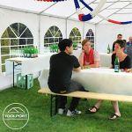 TOOLPORT Tente Barnum de Réception 3×4 m Bâches PVC env. 500g/m² Gris-Blanc Cadre de Sol Jardin