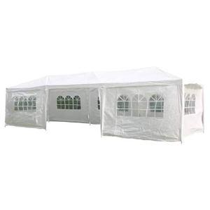 Casdl HI Tente de réception avec parois latérales Blanc 3 x 9 m