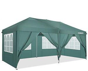 COBIZI Tonnelle 3x6m Tente Pliante imperméable Tonnelle de Jardin Gazebo Pliable Pavillon de Jardin Tente de Reception avec 6 Côtés