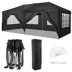 COBIZI Tonnelle Tente 3x6m Pliant Tonnelle de Jardin, étanche Pavillon Tente de réception pour Exterieur, avec 6 Parois Latérales, Protection UV, Réglable en Hauteur, Tente de Jardin 3x6m (Noir)