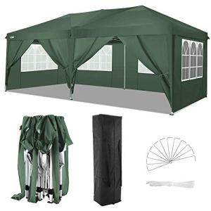 COBIZI Tonnelle Tente 3x6m Pliant Tonnelle de Jardin, étanche Pavillon Tente de réception pour Exterieur, avec 6 Parois Latérales, Protection UV, Réglable en Hauteur, Tente de Jardin 3x6m (Vert)