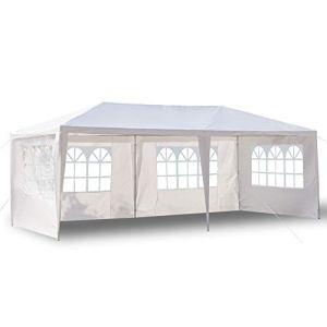 HanOBC Tonnelle d'extérieur de 3 x 6 m, auvent pour fête, mariage, terrasse, abri extérieur avec 4 parois latérales amovibles pour fête de jardin, blanc