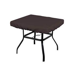 Housse de table carrée 340 g – 100 % résistante aux intempéries avec élastique pour un ajustement parfait (15,2 cm (H) x 106,7 cm (P) x 106,7 cm (l), café)