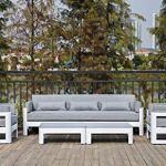 Meubletmoi Canapé de Jardin en Aluminium Blanc et Coussins Moelleux en Tissu Gris chiné 3 Places – Style Lounge – Laguna