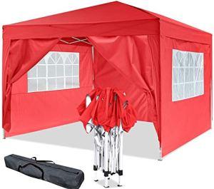 Oppikle Tonnelle Pliante imperméable 3x3m/3x6m Tonnelle de Jardin Gazebo Pliable Pavillon de Jardin Tente de Reception pour Jardin fête, Protection UV (3x3m Rouge)