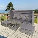 Outsunny Lit canapé de Jardin modulable Grand Confort Pare-Soleil Pliable 6 Coussins 4 oreillers Table Basse relevable résine tressée Polyester Gris