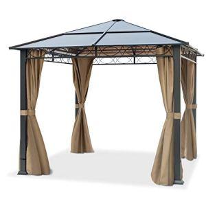 TOOLPORT Pavillon de Jardin Pavillon ALU Deluxe imperméable de 3×3 m avec Tente de réception à 4 côtés en Toit en PC translucide Bronze