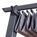 Avril Paris Tonnelle/Pergola Aluminium 3x4m Toile coulissante rétractable – Gris – Hero XL