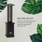 blumfeldt Heat Hunter – Braséro à granulés, extérieur, Puissance : 12,2 KW, Cylindre en Verre, Vue de la Flamme à 360 °, température: jusqu'à 499 ° C, capacité: 3-9 kg – Noir