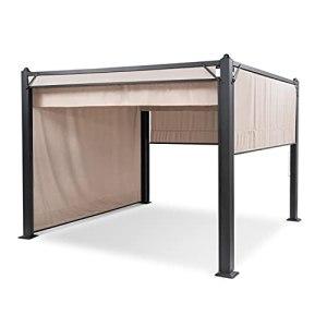 blumfeldt Panthéon Pavillon Cortina – Tubes Aluminium, poteaux d'angle 10×10 cm, 4 côtés, Toit avec revêtement Hydrofuge, INOX – Surface Couverte : 3×3 m, Beige