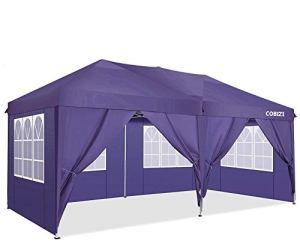 COBIZI Tonnelle 3x6m Tente Pliante imperméable Tonnelle de Jardin Gazebo Pliable Pavillon de Jardin Tente de Reception avec 6 Côtés(Violet)