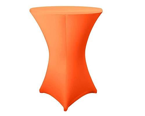 Expand Housse Pour Tables Hautes Orange – Couverture, Revêtement, Nappe Pour Tables Mange-Debout – Ø 80cm-86cm – Stretch