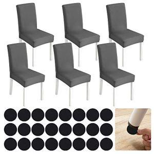 eZAKKA Housse de Chaise 6 PCS+ Furniture Pads Floor Protectors 25 PCS, Housse de Salle à Manger pour Un Ajustement Universel, Bouquet, Hôtel, Décor de Restaurant(Gris)